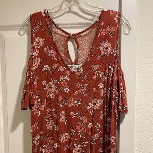 Macy's rust color floral cold shoulder cotton top